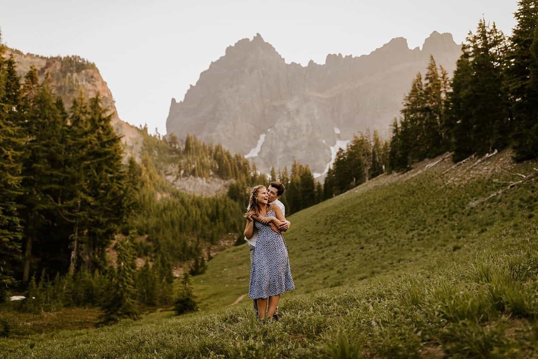 Oregon Meadow Wildflower Mountain Engagement Shoot