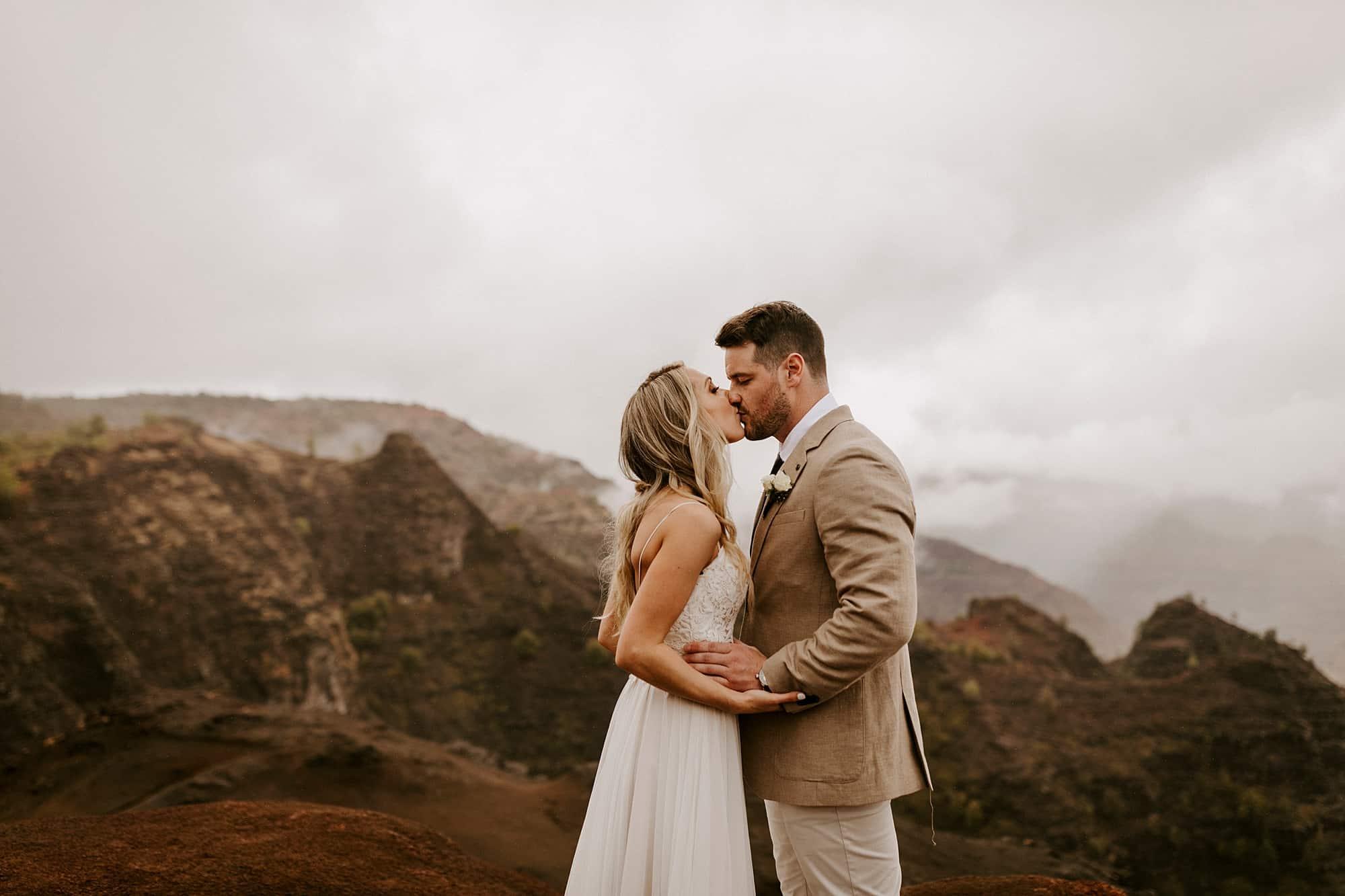 Kauai Hawaii First Look Romantic Intimate Wedding