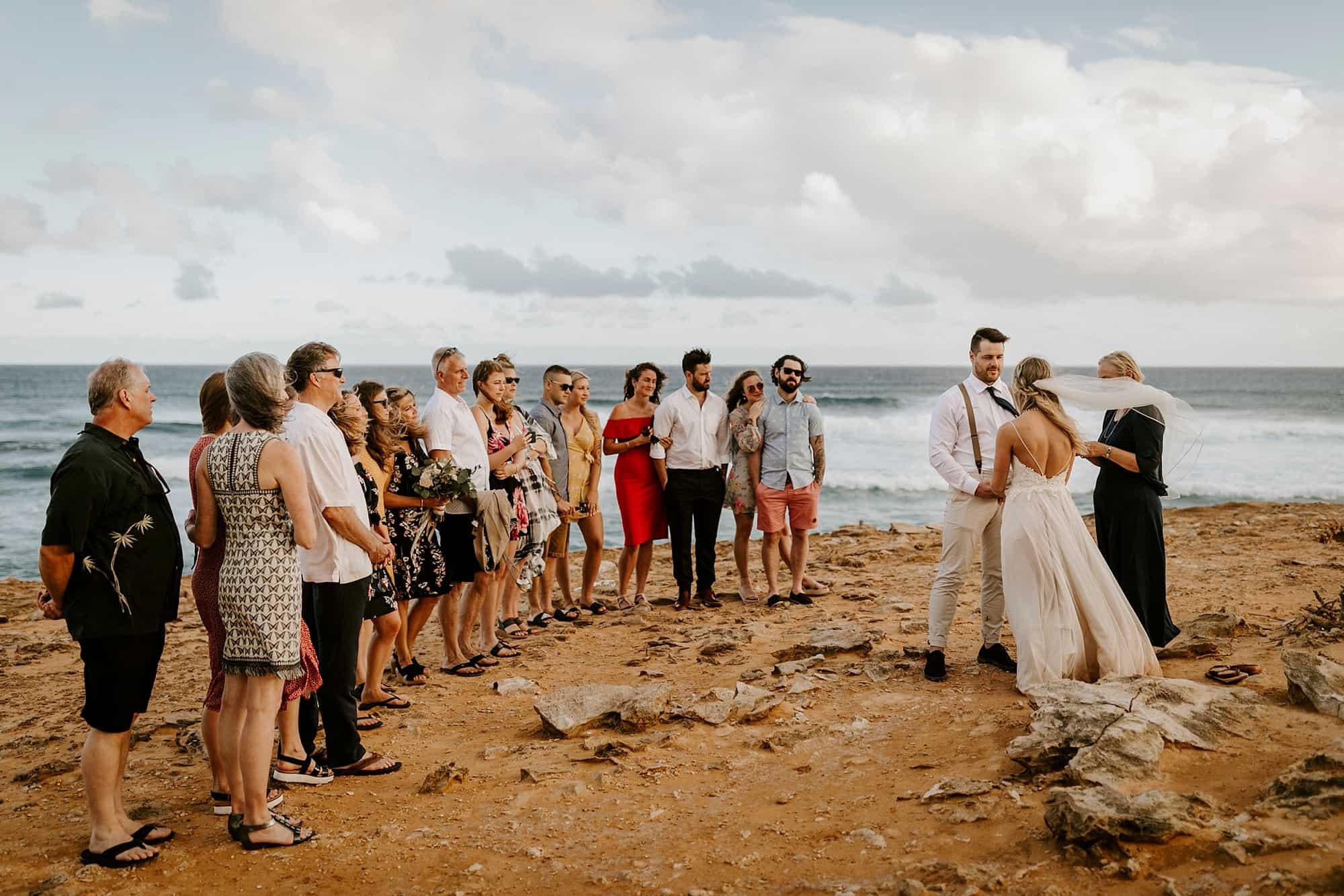 Kauai Hawaii Romantic Ceremony Intimate Wedding Shipwreck Cliffs