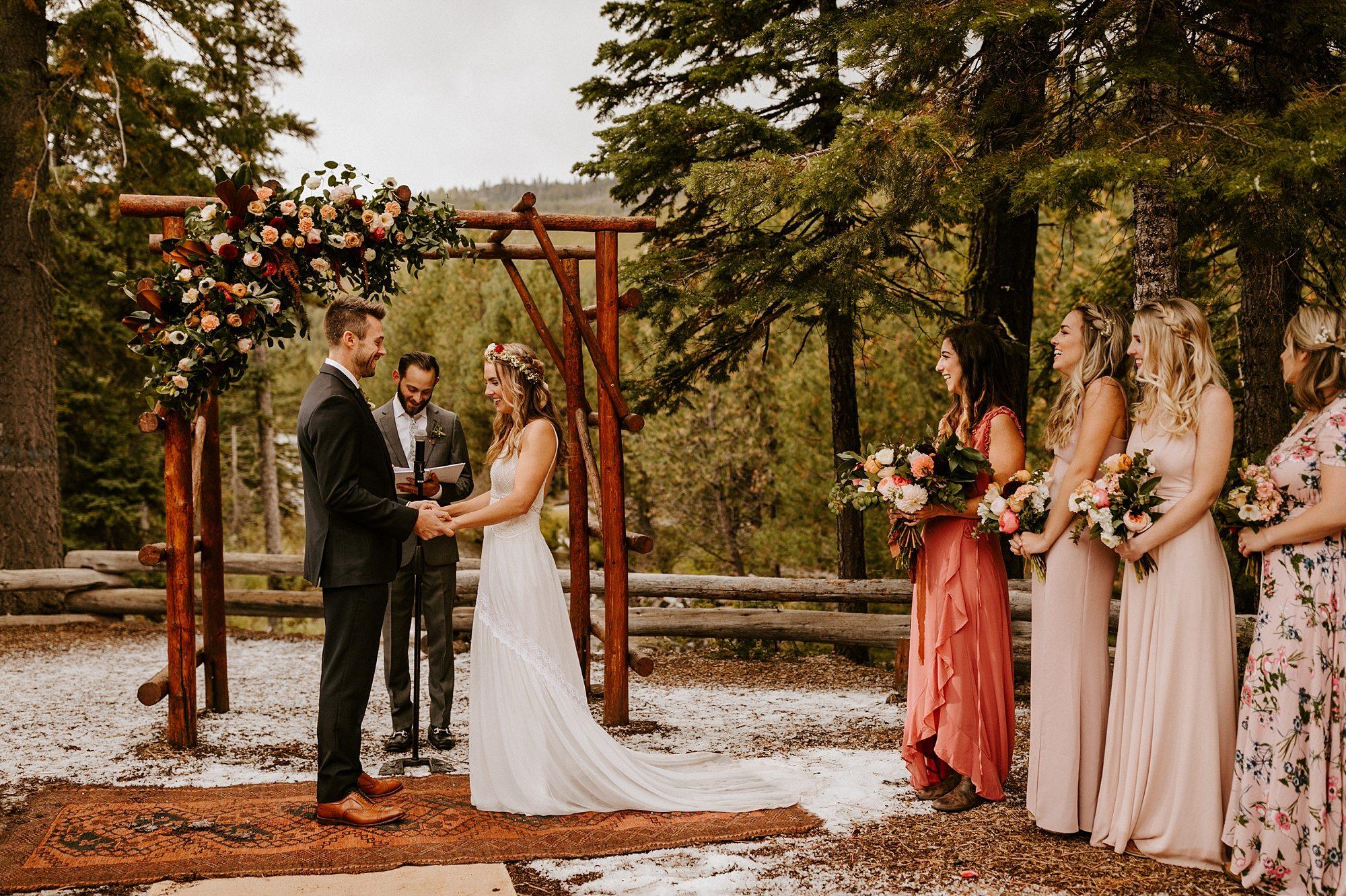 Bend Oregon Skyliner Lodge Ceremony Victoria Carlson Wedding Photographer